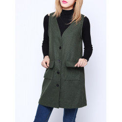 Women V Neck Single Breasted Pockets Medium Long Wool Vest Cardigan