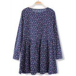 Women Vintage Floral Long Sleeve Pleated Twill Mini Dress