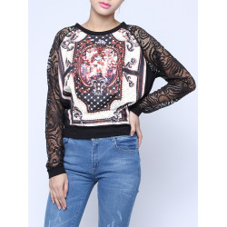 Women Vintage Gem Print Lace Sleeve Splice Slim Shirt