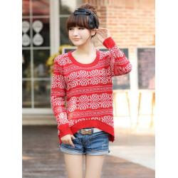 Women Vintage Snowflakes Pattern Irregular Hem Knit Pullover Sweater