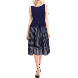Women Vintage Tunic Dress Surrounded  Polka Dot Chiffon Party Dress