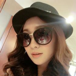 Kvinna Vintage Två Striping Metal Edge UV 400 Motstånds Solglasögon
