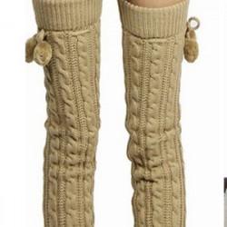 Women Warm Cashmere Knee-high Knit Crochet Socks Boots Sets