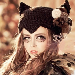 Women Warm Cat Ear Ball Winter Knitted Lovely Hat