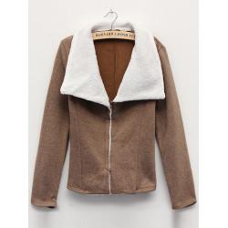 Kvinder Varm Collar Fleece Kort Kvinder Hættetrøje Vinter Langærmet Frakke