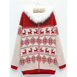 Kvinder Varm Deer Trøje Sweater Fur Tyk Hætte Strikket Frakke