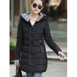 Women Warm Long Hooded Thick Cotton Down Jacket Coat