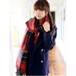 Women Warm Long Scarf Plaid Checked Tassels Stole
