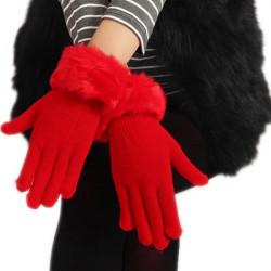 Women Warm Rabbit Fur Pure Five Finger Gloves