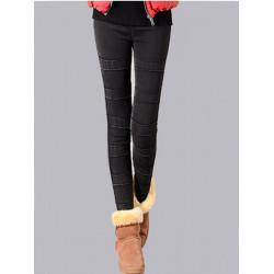 Women Warm Thicken Pants Velvet Elastic Patchwork Denim Leggings