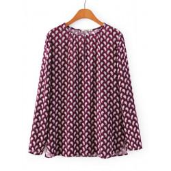 Kvinna Vinröd Cashew Printing Crew Neck Säkrings Långärmad Skjorta