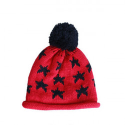 Women Winter Christmas Star Printed Wool Knitted Hat