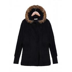 Frauen Winter Pelz Langarm Kapuzen losen Jacken Mantel