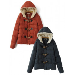Frauen Winter Horn Schnalle Hooded Warm CottonJacket Mantel