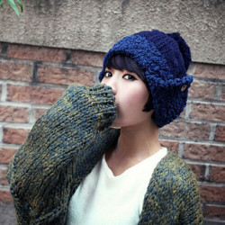 Women Winter Knitted Ear Protection Warm Beanies Hats