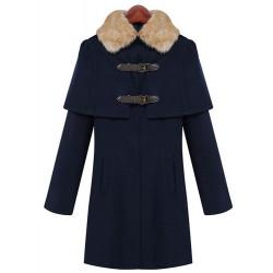 Women Winter Long Sleeve Fur Collar Buttons Cloak Coat