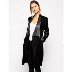 Women Winter PU Leather Sleeve Patchwork Black Casual Coat Jacket