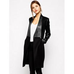 Women Winter PU Leather Sleeve Patchwork Black Casual Coat Jacket