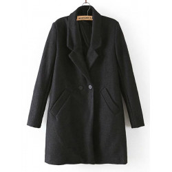 Women Winter Slim Trench Coat Wool Long Sleeve Long Coat