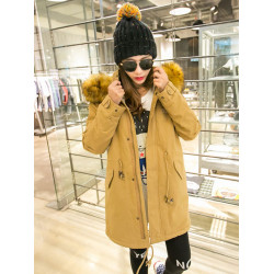 Women Winter Thick Fur Collar Hooded Long Sleeve Parka Cotton Coat