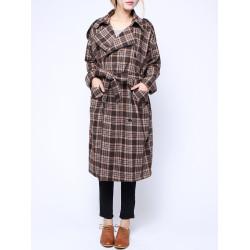 Frauen Winter Weinlese Kleid Mantel Grid lose Gürtel Wollmantel