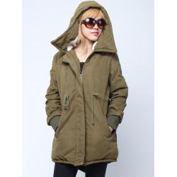 Women Winter Warm Fleece Hooded Fleece Cotton Outdoor Jacket