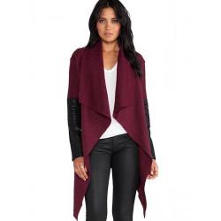 Frauen Wolle Unregelmäßigkeit Strickjacke Schal Cape mit Gürtel