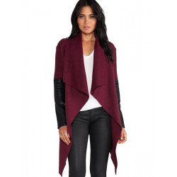Women Wool Irregularity Cardigan Shawl Cape With Belt