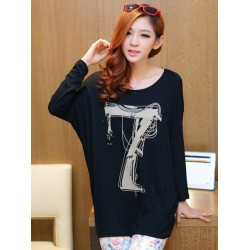 Frauen Zanzea Lose Cotton Bat Langarm Printed T Shirt