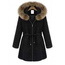 Women Zipper Luxury Raccoon Fur Thicken Hooded Coat Outwear