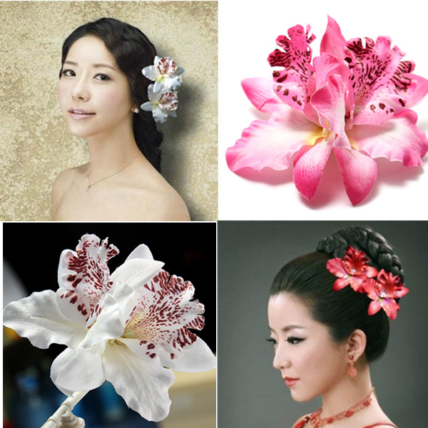 Womens Bridal Wedding Orchid Flower Leopard Hair Clip Women's Clothing