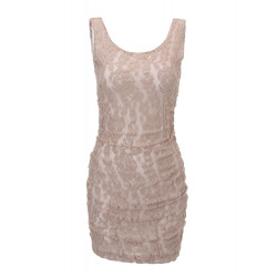 Women's Lace Sexy Slim Short Khaki Strap Tank Mini Dress