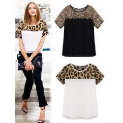 Frauen Leopard beiläufig plus Größen Kurzschluss Hülsen Chiffon  Blusen Stitching