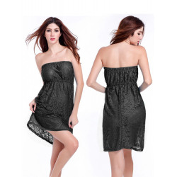 Women's Strapless Lace Beach Dress Sexy Beach Cover Up Summer Dress