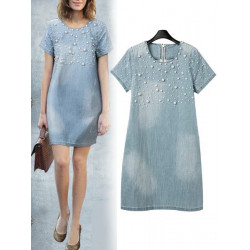 Women's Summer Nail Bead Denim Dress O-neck Short-sleeve Loose Dress