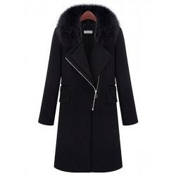 Damen Winter Pelzkragen Wolle Graben Jacken Mantel Große Größen M XXL