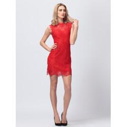 Zanzea Bow Lace Sleeveless Package Hip Dress