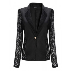 Zanzea Casual Long Sleeve Lace Splicing Floral V-Neck Outerwear