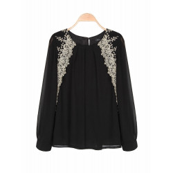 Zanzea Elegant White Lace Embroidered Chiffon Long Sleeve Blouse
