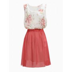 Zanzea Flower Pattern Sleeveless Chiffon Dress