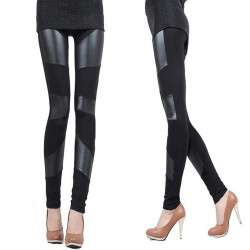 Zanzea Inferior Smooth Splicing PU Boots Pants Leggins