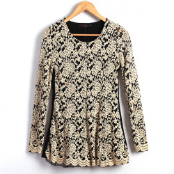Zanzea® Lace Elegant Lady Broderi Blus Tops