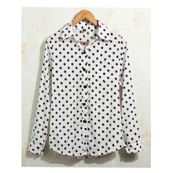 Zanzea Polka Dot Chiffon Long Sleeve Single Breasted Lapel Blouse