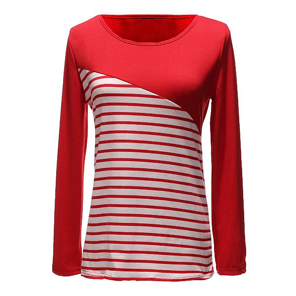 Zanzea Streifen Langarm T Shirt Damenbekleidung