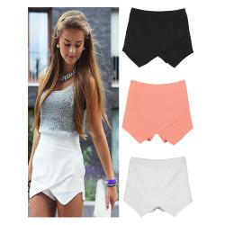 Zanzea Kvinna Klassiska Ren Färg Asymmetrisk Chiffon Hot Shorts
