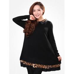Zanzea Women Leopard Lapel Long Sleeve Patchwork Chiffon Trim Dress