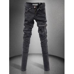 Zipper Slim Long Denim Pencil Pants Black Skinny Jeans