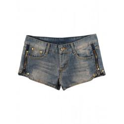 Dragkedjor Tvättade Blå Låga Jeans Shorts