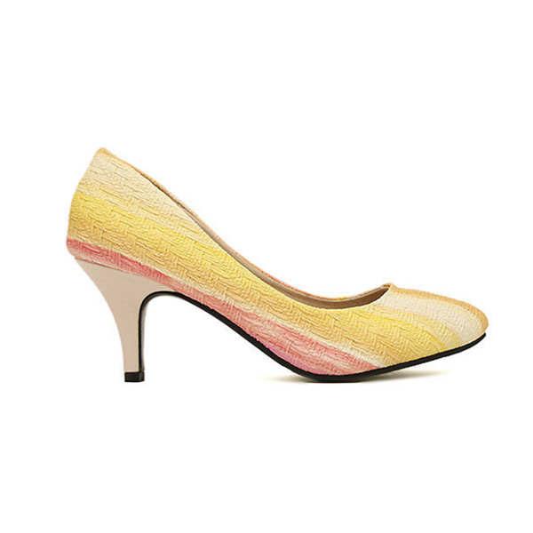 Autumn Rainbow Print Pointed Toe Women's OL Stiletto Heel Shoes Women's Shoes