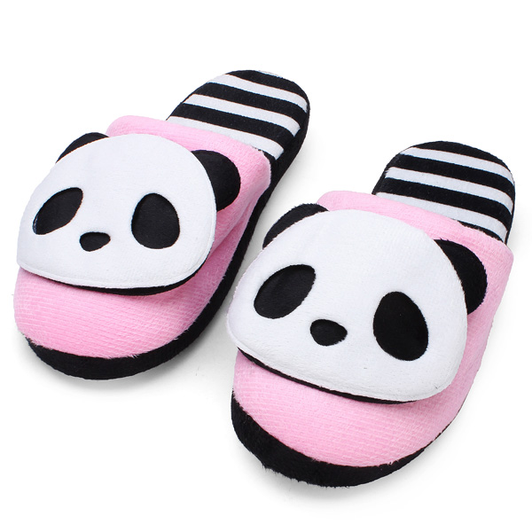 Autumn Winter Warm Cute Panda Home Shoes Soft Bottom Slippers Women's Shoes